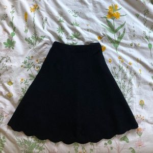 Black Scalloped Knit Circle Skirt